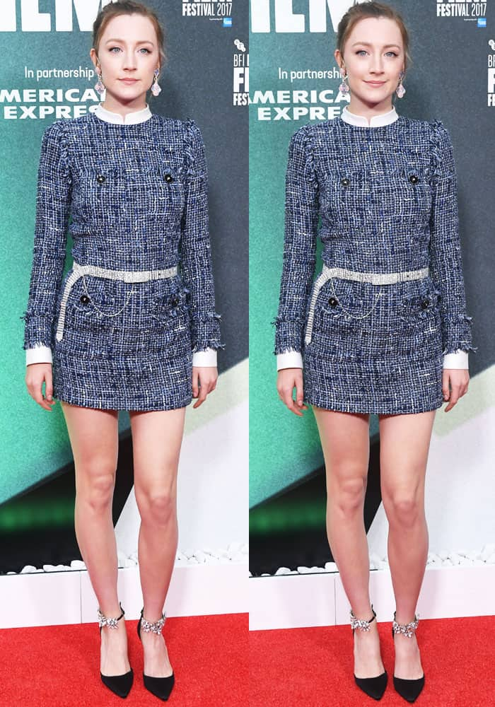 Saoirse steps out in a beautiful tweed dress by Alessandra Rich