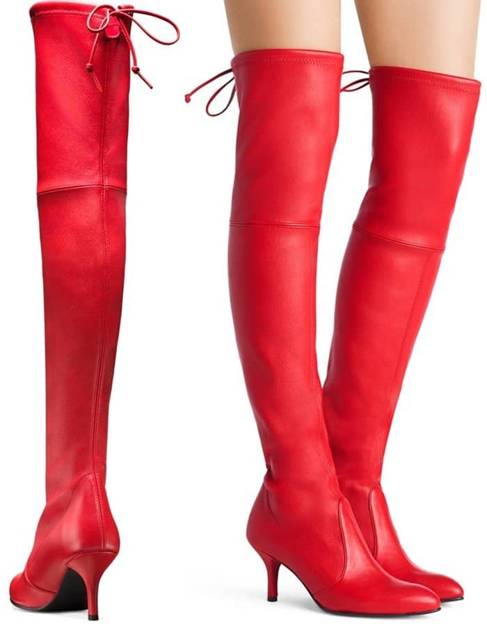 Stuart Weitzman 'Tiemodel' Over-the-Knee Boots in Red Stretch Leather