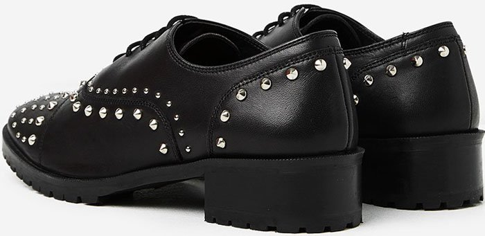 The Kooples Studded Black Leather Derby Shoes