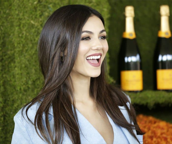 Victoria is all-smiles at the polo event