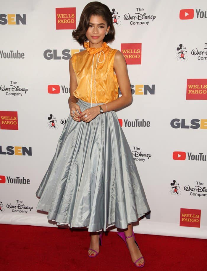 Zendaya Maree Stoermer Coleman wearing Calvin Klein 205W39NYC at the 2017 GLSEN (Gay, Lesbian, & Straight Education Network) Respect Awards at the Beverly Wilshire Hotel in Los Angeles on October 20, 2017