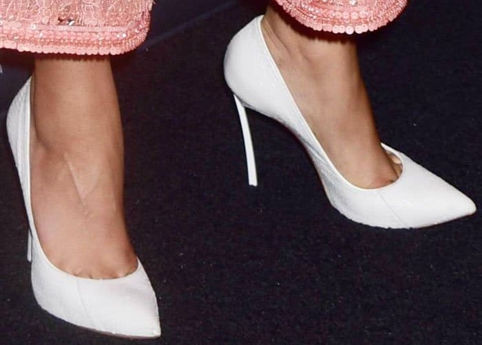 """The actress paired her Casadei """"Blade"""" for both her looks"""