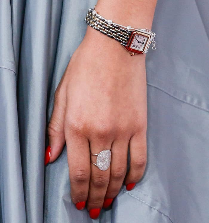 The American actress and singer showing off her watch and jewelry