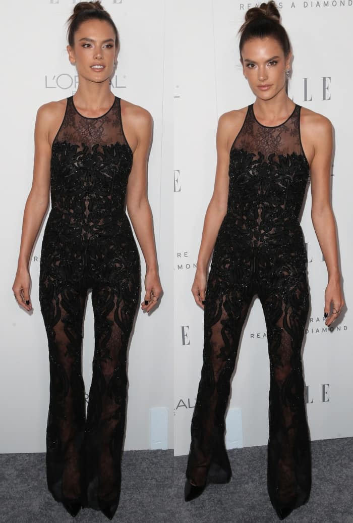 Alessandra Ambrosio wearing a Zuhair Murad Resort 2018 jumpsuit and Casadei pointy-toe pumps at Elle's 24th Annual Women in Hollywood Celebration