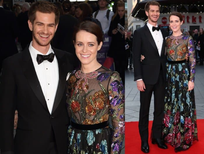 """Andrew Garfield and Claire Foy at the """"Breathe"""" premiere during the 61st BFI London Film Festival opening night gala"""