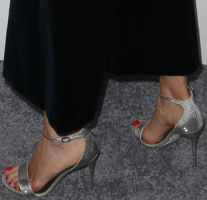 Bellamy Young wearing Rene Caovilla metallic ankle-strap sandals at Elle's 24th Annual Women in Hollywood Celebration