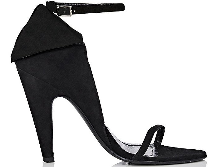 "Calvin Klein 205W39NYC ""Camrin"" winged suede ankle-strap sandals in black"