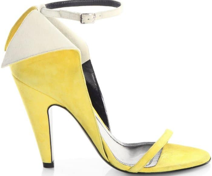 "Calvin Klein 205W39NYC ""Camrin"" winged suede ankle-strap sandals in yellow and white"