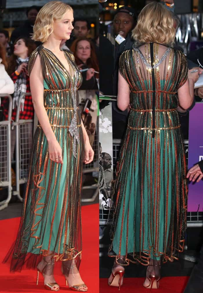 "Carey Mulligan wearing a Gucci Resort 2018 dress and Francesco Russo sandals at the ""Mudbound"" premiere during the London Film Festival"