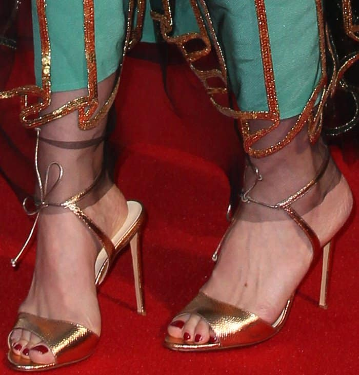 "Carey Mulligan wearing Francesco Russo metallic sandals at the ""Mudbound"" premiere during the London Film Festival"