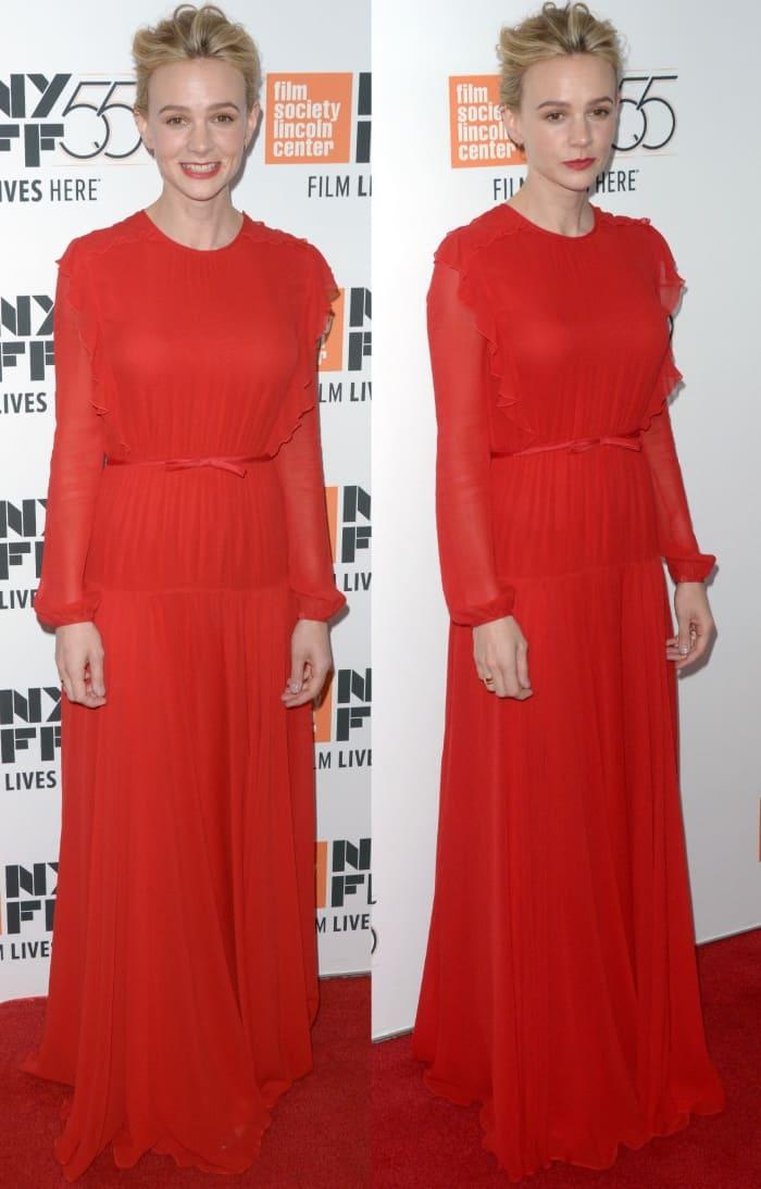 """Carey Mulligan wearing a Giambattista Valli Resort 2018 gown at the """"Mudbound"""" premiere during the New York Film Festival"""
