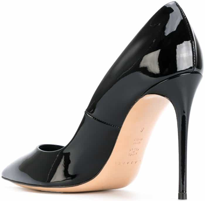 Casadei pointed stiletto pumps in black patent leather