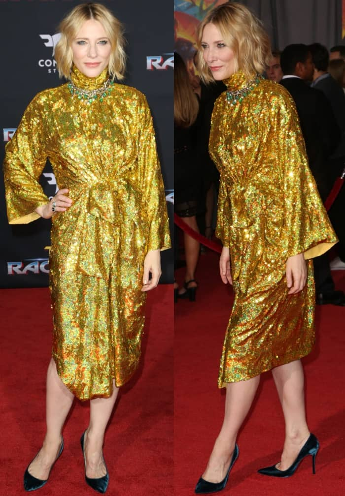 "Cate Blanchett wearing a Gucci Spring 2018 dress and Christian Louboutin ""Decoltish"" pumps at the ""Thor: Ragnarok"" world premiere"