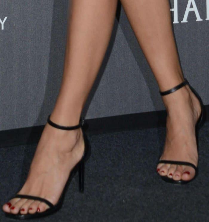 Chiara Ferragni wearing black ankle-strap sandals at the 2017 amfAR Milano gala