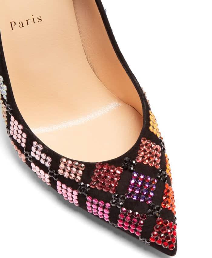 "Christian Louboutin ""Arletta"" crystal-embellished velvet pumps"