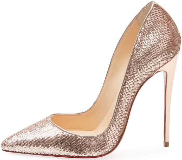 "Christian Louboutin ""So Kate"" pumps in beige sequined leather"