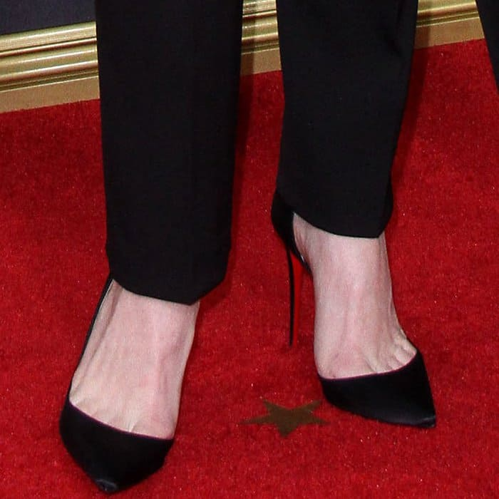 """Claire Foy wearing Christian Louboutin """"Iriza"""" pumps at the 69th Emmy Awards"""