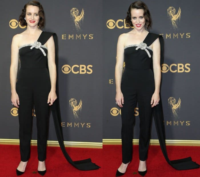 """Claire Foy wearing an Oscar de la Renta Resort 2018 jumpsuit and Christian Louboutin """"Iriza"""" pumps at the 69th Emmy Awards"""
