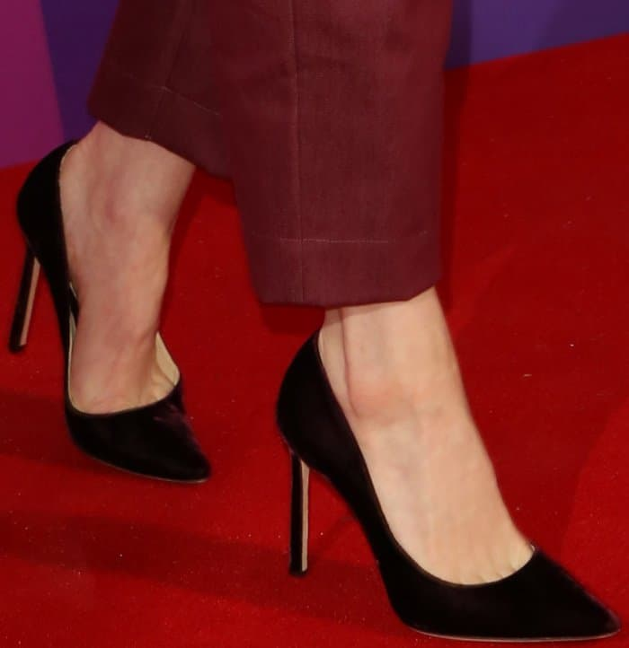 """Claire Foy wearing Jimmy Choo """"Romy"""" pumps at the """"Breathe"""" photocall during the 61st BFI London Film Festival"""