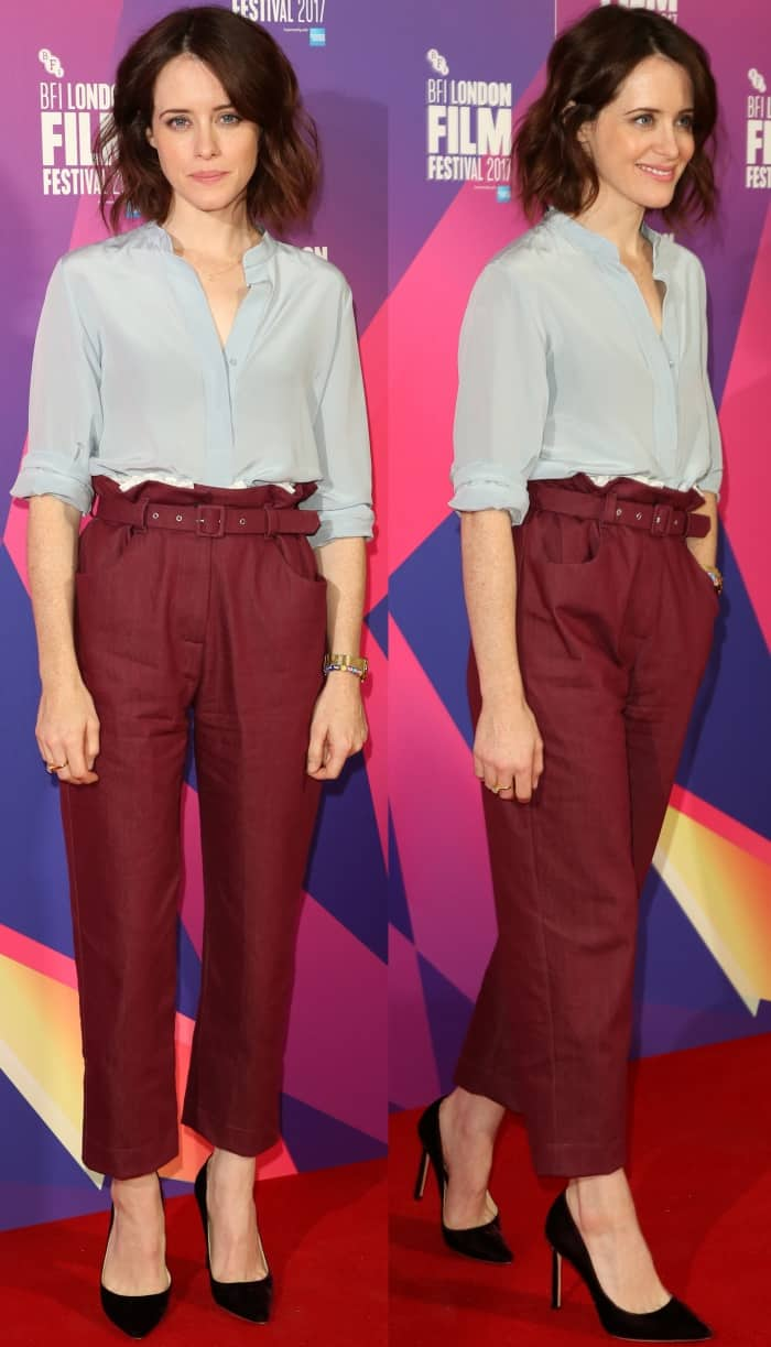 """Claire Foy wearing an Isa Arfen Fall 2017 trousers and Jimmy Choo """"Romy"""" pumps at the """"Breathe"""" photocall during the 61st BFI London Film Festival"""