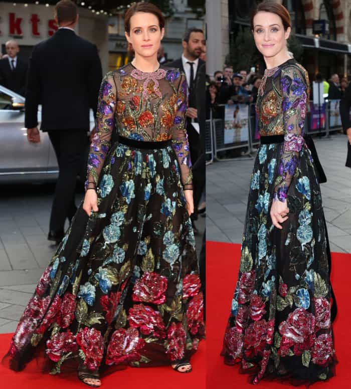 """Claire Foy wearing a Gucci embellished floral gown and black sandals at the """"Breathe"""" premiere during the 61st BFI London Film Festival opening night gala"""