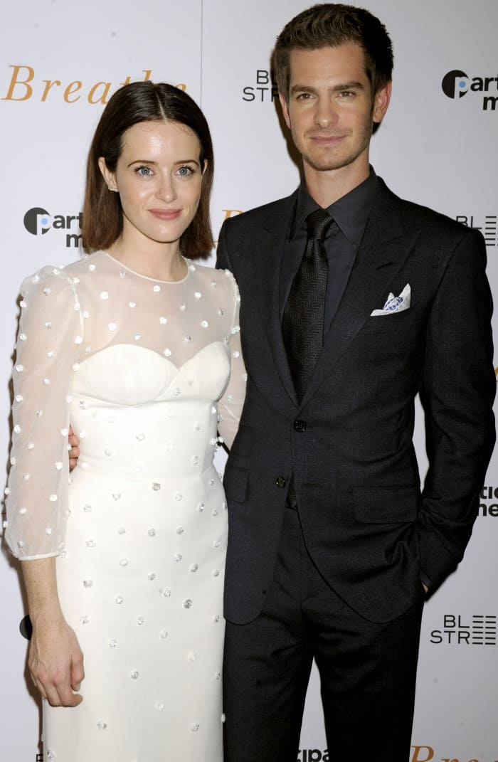 """Claire Foy and Andrew Garfield at the """"Breathe"""" New York screening"""
