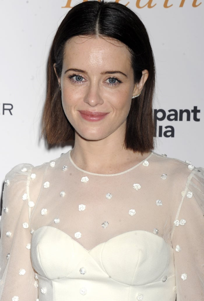 """Claire Foy wearing an Ulyana Sergeenko Fall 2017 Couture dress at the """"Breathe"""" New York screening"""