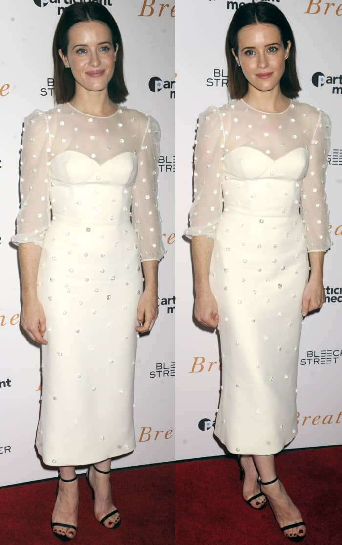"""Claire Foy wearing an Ulyana Sergeenko Fall 2017 Couture dress and Jimmy Choo """"Minny"""" sandals at the """"Breathe"""" New York screening"""