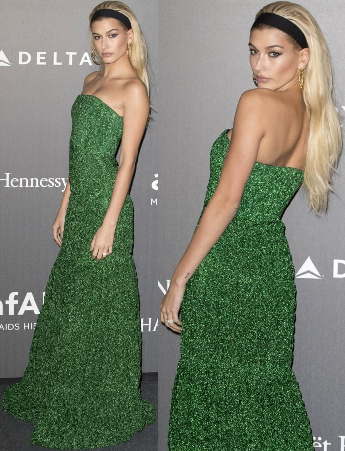 Hailey Baldwin wearing a Missoni Resort 2018 strapless gown and black sandals at the 2017 amfAR Milano gala