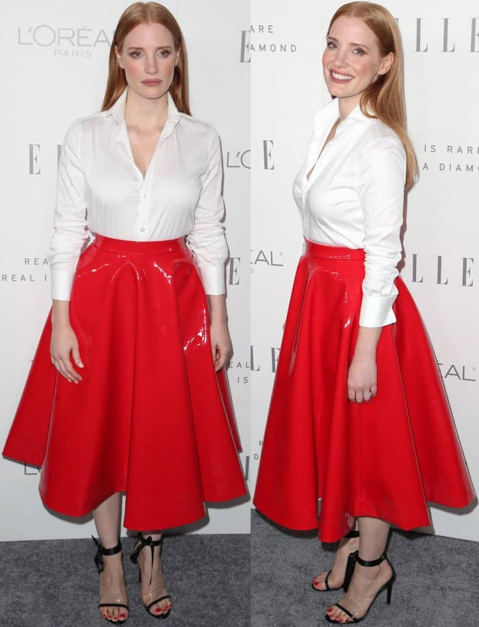Jessica Chastain wearing a Calvin Klein Spring 2018 ensemble and black sandals at Elle's 24th Annual Women in Hollywood Celebration