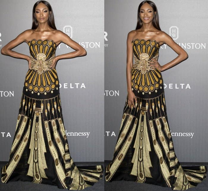 Jourdan Dunn wearing a Naeem Khan Fall 2017 strapless gown at the 2017 amfAR Milano gala