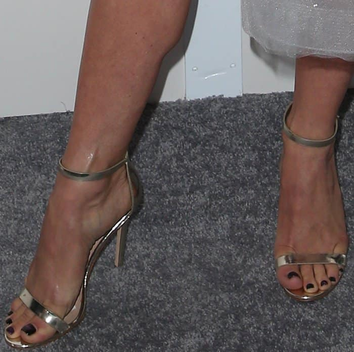 "Julianne Hough wearing Aldo ""Polesia"" sandals at Elle's 24th Annual Women in Hollywood Celebration"