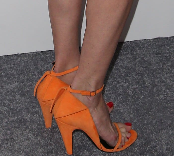 "Laura Dern wearing orange Calvin Klein 205W39NYC ""Camrin"" sandals at Elle's 24th Annual Women in Hollywood Celebration"