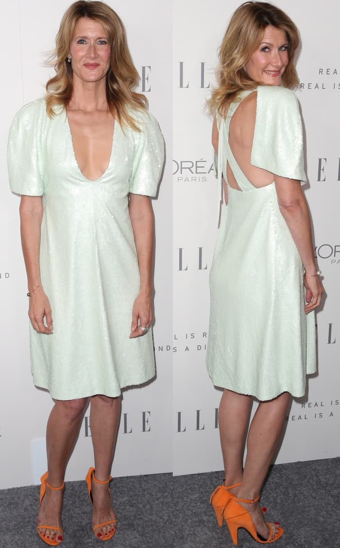 Laura Dern wearing head-to-toe Calvin Klein at Elle's 24th Annual Women in Hollywood Celebration