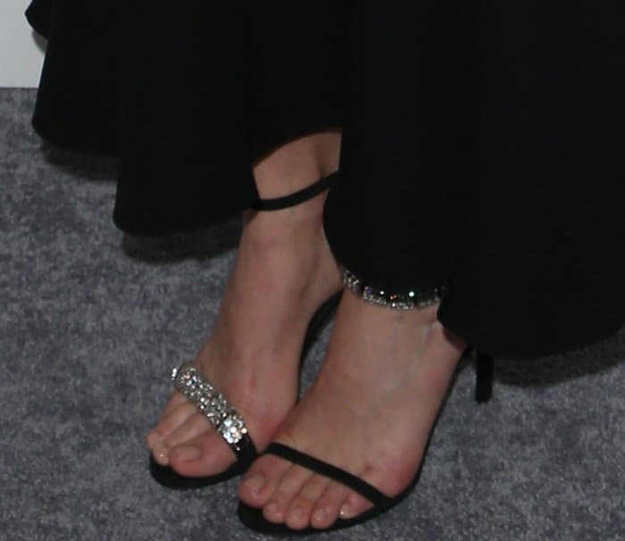 "Margot Robbie's feet in Calvin Klein 205W39NYC ""Camelle"" sandals"