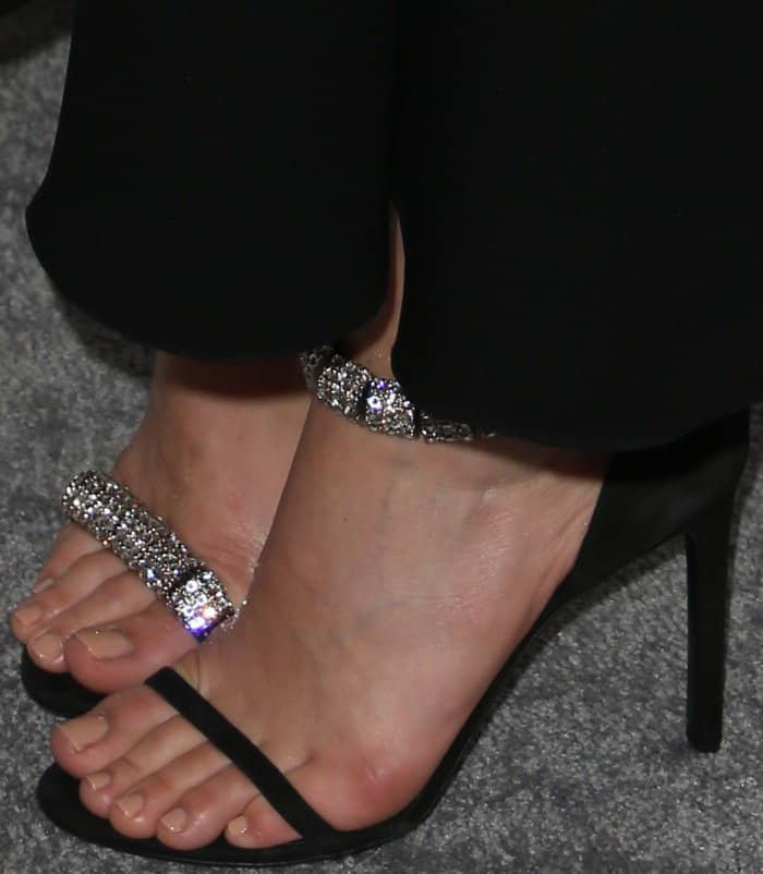 "Margot Robbie's pedicured toes in Calvin Klein 205W39NYC ""Camelle"" sandals"
