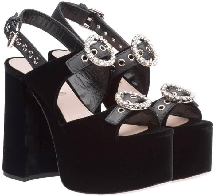 Miu Miu black velvet embellished platform sandals