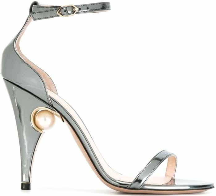 """Nicholas Kirkwood """"Penelope Pearl"""" sandals in ash metallic grey"""