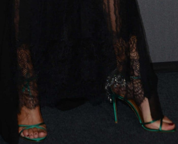 Nieves Alvarez wearing green Aquazzura embellished sandals at the 2017 amfAR Milano gala