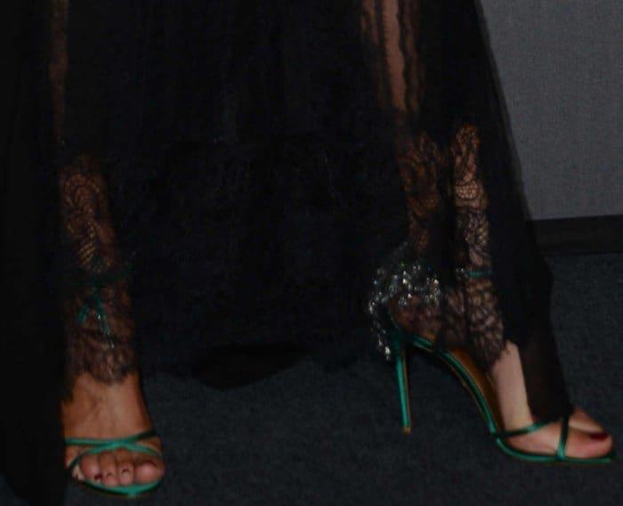 Nieves Alvarez wearing green Aquazzura embellished sandals at the 2017 amfAR Milano gala