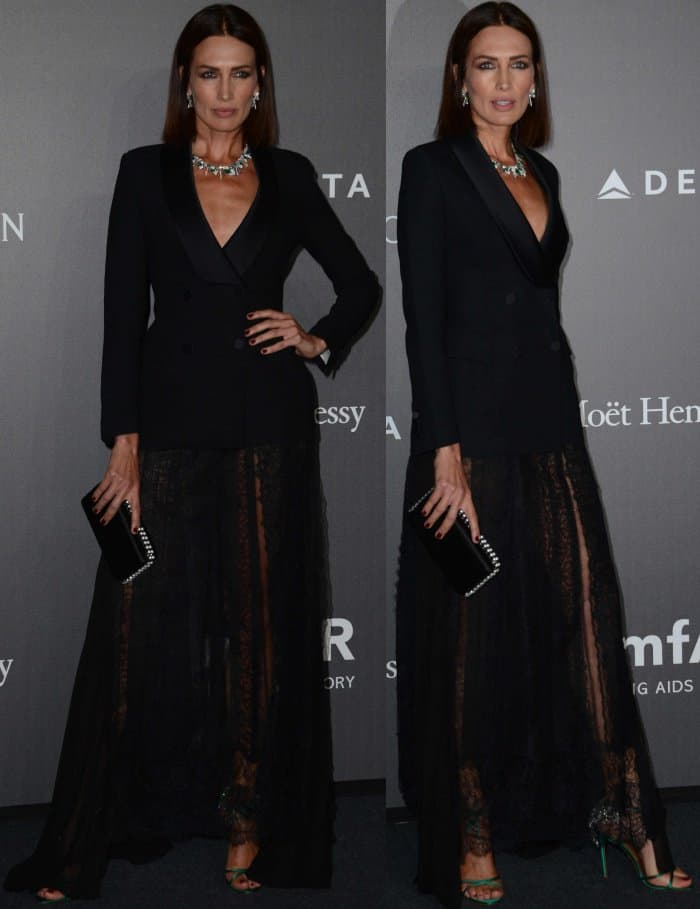 Nieves Alvarez wearing an Ermanno Scervino Fall 2017 ensemble and Aquazzura sandals at the 2017 amfAR Milano gala