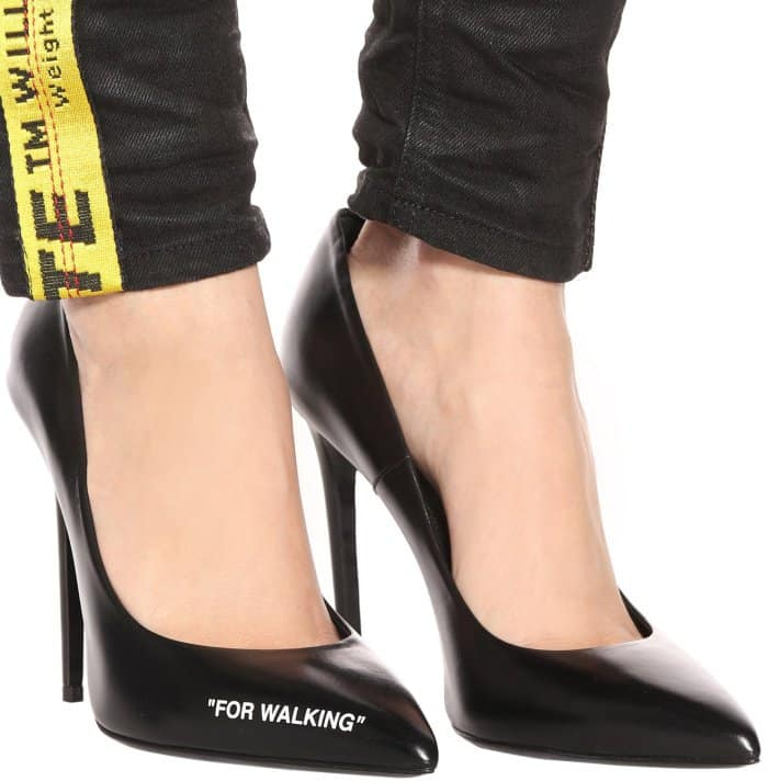 "Off-White ""For Walking"" leather pumps"