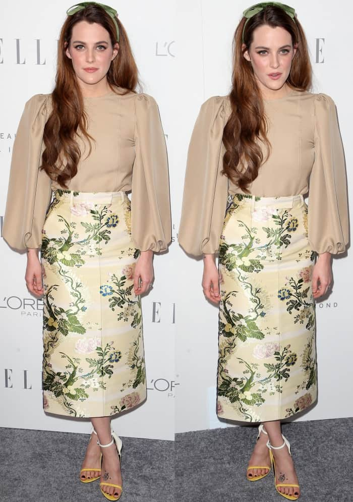Riley Keough wearing head-to-toe Calvin Klein at Elle's 24th Annual Women in Hollywood Celebration