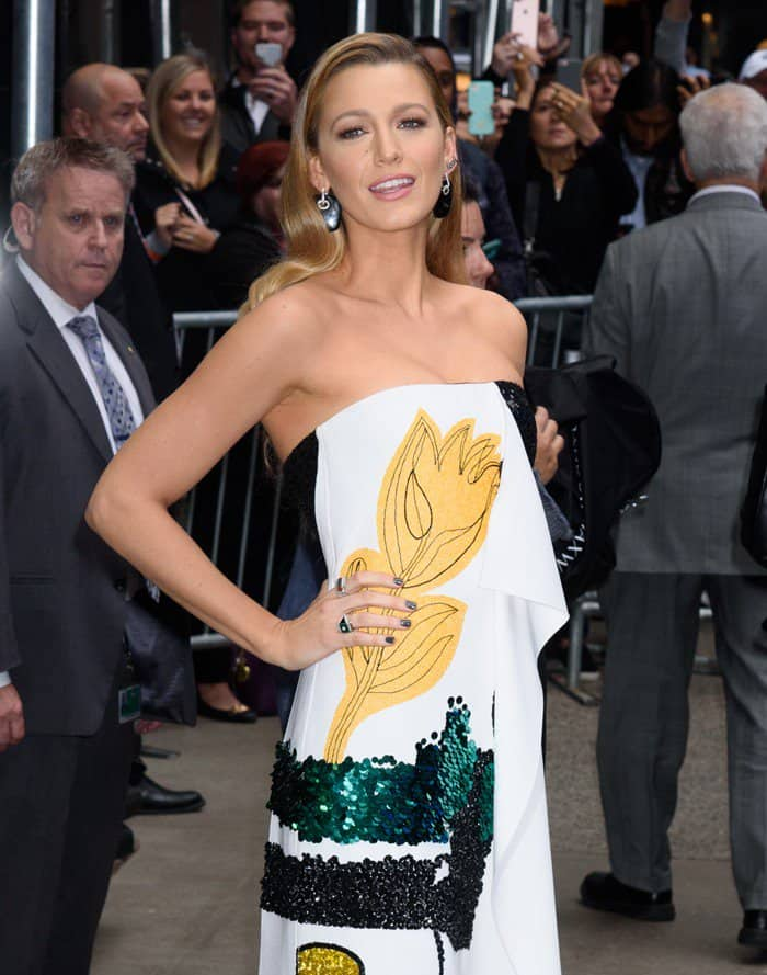 Blake Lively in a sequin-embroidered strapless dress