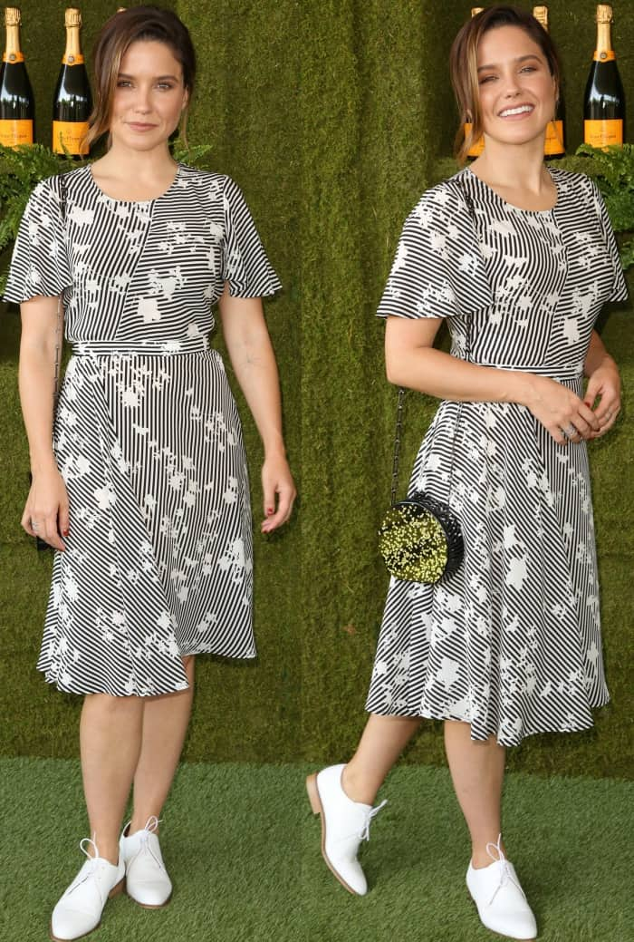 Sophia Bush wearing an Altuzarra Pre-Fall 2017 dress and white lace-up dress shoes at the 8th Annual Veuve Clicquot Polo Classic