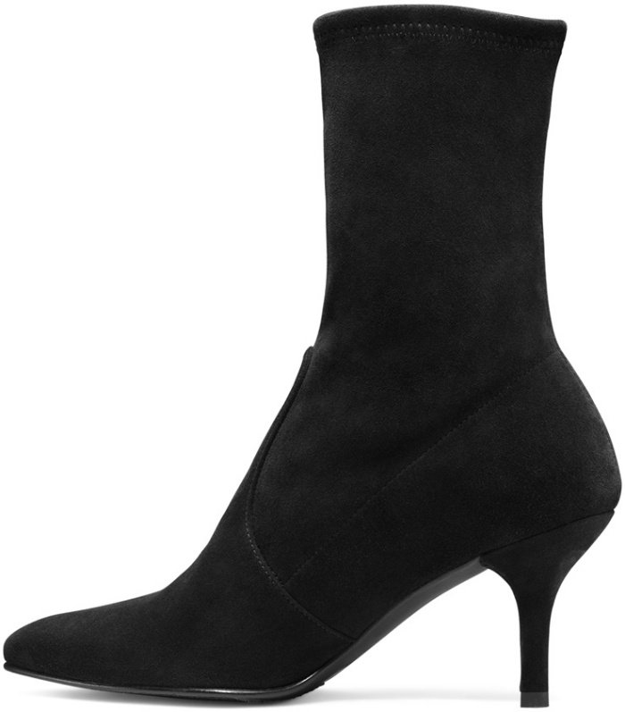 "Stuart Weitzman ""Cling"" booties in black suede"