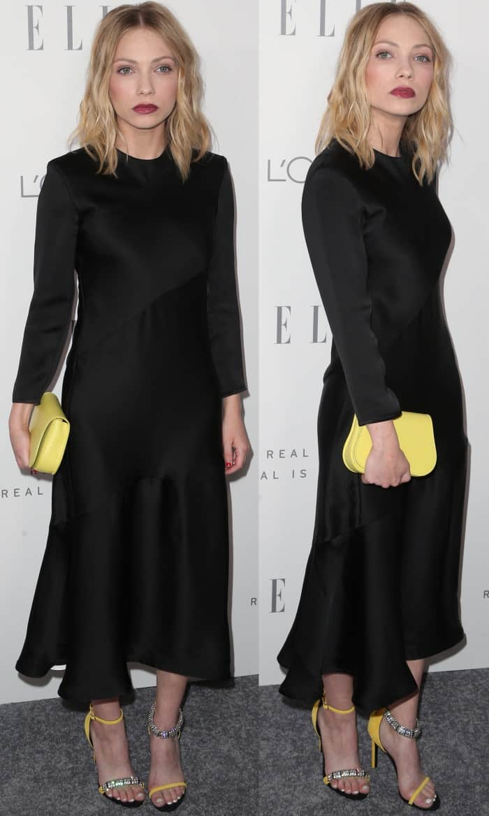 Tavi Gevinson in a black long-sleeved dress from Calvin Klein