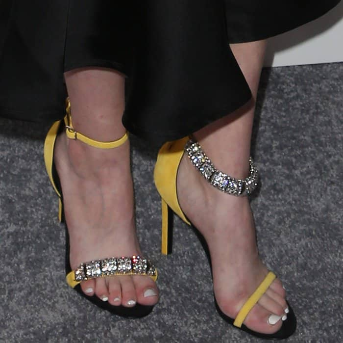 "Tavi Gevinson's feet in yellow ""Camelle"" sandals"