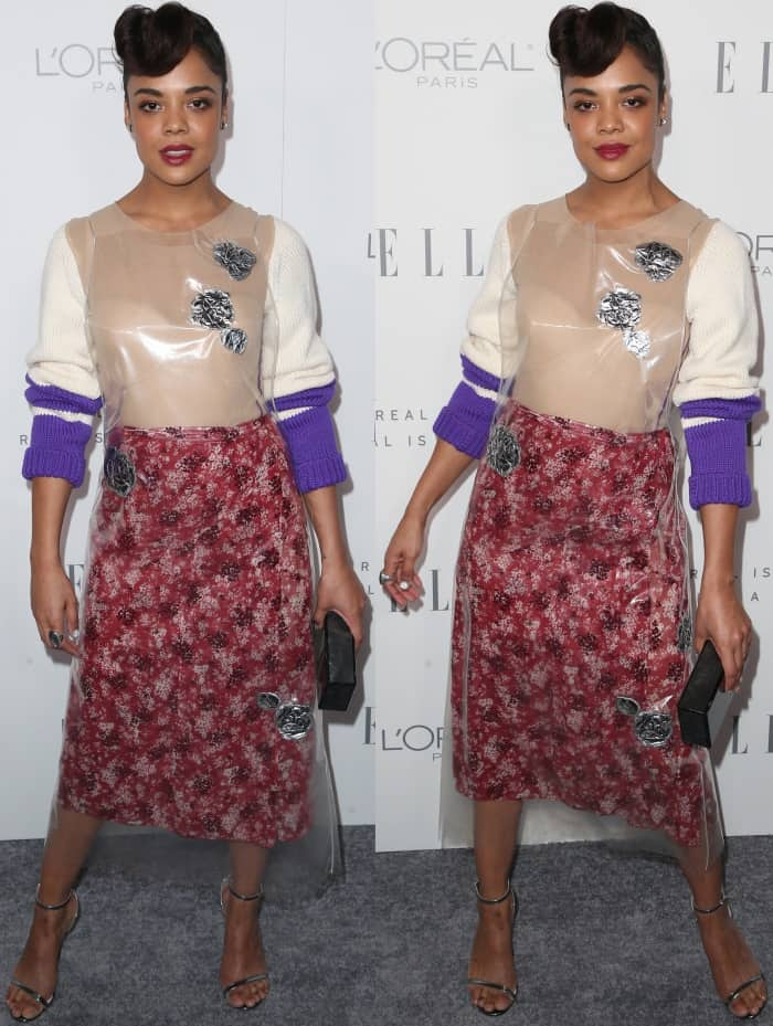 """Tessa Thompson wearing a Calvin Klein Fall 2017 dress and Nicholas Kirkwood """"Penelope Pearl"""" sandals at Elle's 24th Women in Hollywood Celebration"""