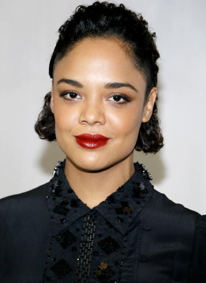 Tessa Thompson wearing a Bottega Veneta Resort 2018 dress and black pointy-toe pumps at the Hammer Museum 15th Annual Gala in the Garden